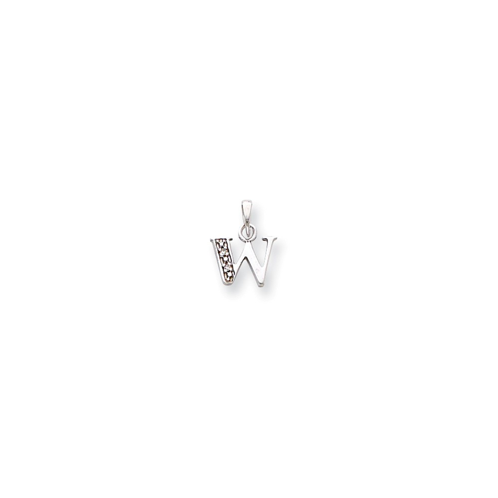 14K White Gold Polished .01ct Diamond Initial W Charm (0.6in)