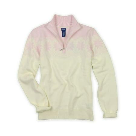 IZOD Womens Snowflake Pattern Quarter Zip Knit Sweater 691 L (Snowflake Knitted Sweater)