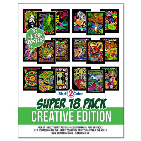 Super Pack of 18 Fuzzy Velvet Coloring Posters (Creative Edition) - Stuff2Color