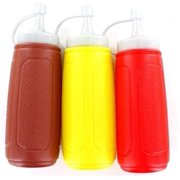 3 pc Squeezable Picnic Condiment 8 oz. Squeeze Dispenser Storage Bottles - Great for Ketchup Mustard and BBQ Sauce!