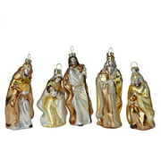 Set of 5 Gold Religious Nativity Glass Christmas Ornaments 5""