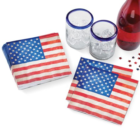 USA Flag Patriotic Dinner Napkins Party Tableware, 12