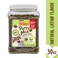 Friskies , Natural Cat Treats, Party Mix Natural Yums Catnip Flavor, 30 oz. Canister