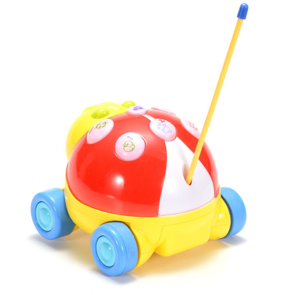 Radio Control Cartoon R/C Ladybug Car 2CH for Toddlers with Music and Lights