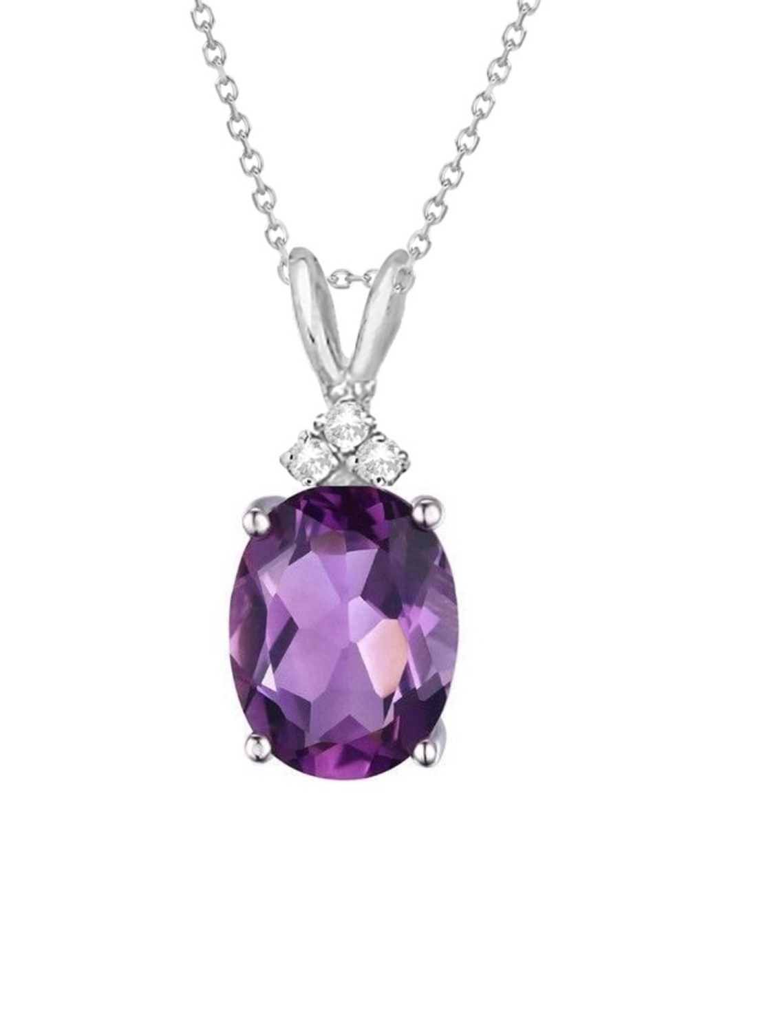 Genuine 1.00 Carat Natural 7x5mm Oval Shaped Amethyst with White Topaz Necklace In 925 Sterling Silver