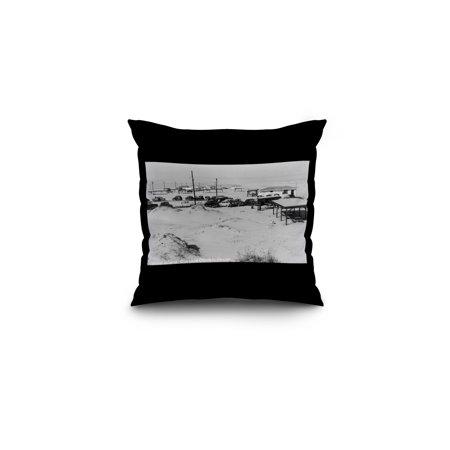 Corpus Christi, Texas - Padre Island (16x16 Spun Polyester Pillow, Black (Padre Island Corpus Christi)