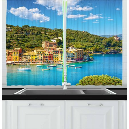 Italy Curtains 2 Panels Set, Portofino Landmark Aerial Panoramic View Village and Yacht Little Bay Harbor, Window Drapes for Living Room Bedroom, 55W X 39L Inches, Blue Green Yellow, by Ambesonne ()