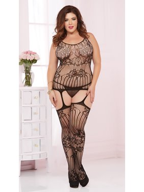 50bd44f5d9b Product Image Plus Size Sheer Lace And Fishnet Bodystocking, Plus Size  Fishnet And Lace Bodystocking. Seven Til Midnight