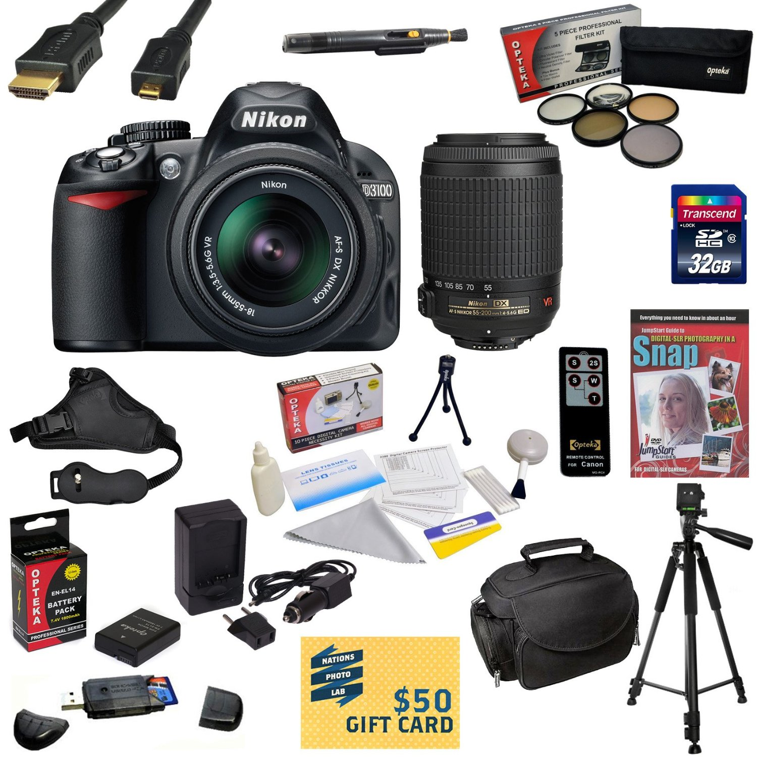 Nikon D3100 Digital SLR Camera with 18-55mm & 55-200mm NIKKOR VR Lens With 32GB SDHC Card, Reader, Battery, Charger, 5 Piece Filter Kit, HDMI Cable, Bag, Tripod, Cleaning Kit, DVD, $50 Gift Card, More