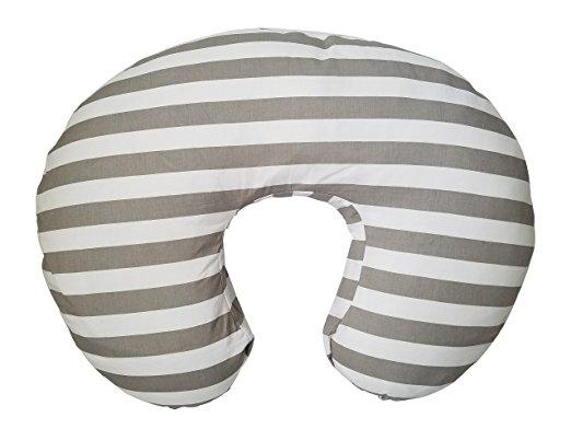 DANHA Gray and White Stripe Nursing Pillow Cover by DANHA