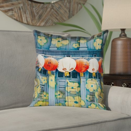 Bloomsbury Market Akini Double Sided Print Lanterns in Singapore Pillow Cover
