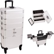 Silver Dot Pattern 3-Tiers Accordion Trays Professional Rolling Aluminum Cosmetic Makeup Case and Stackable Trays with Dividers - I3364