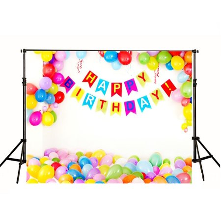 GreenDecor Polyster 7x5ft White Wall Photography Backdrops Colorful Balloon Arch Background for Birthday Studio Photo Props