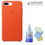 Apple Iphone 8 Plus / 7 Plus Leather Case - Bright Orange With Free Cleaning Kit For Iphones/Ipads/Imacs