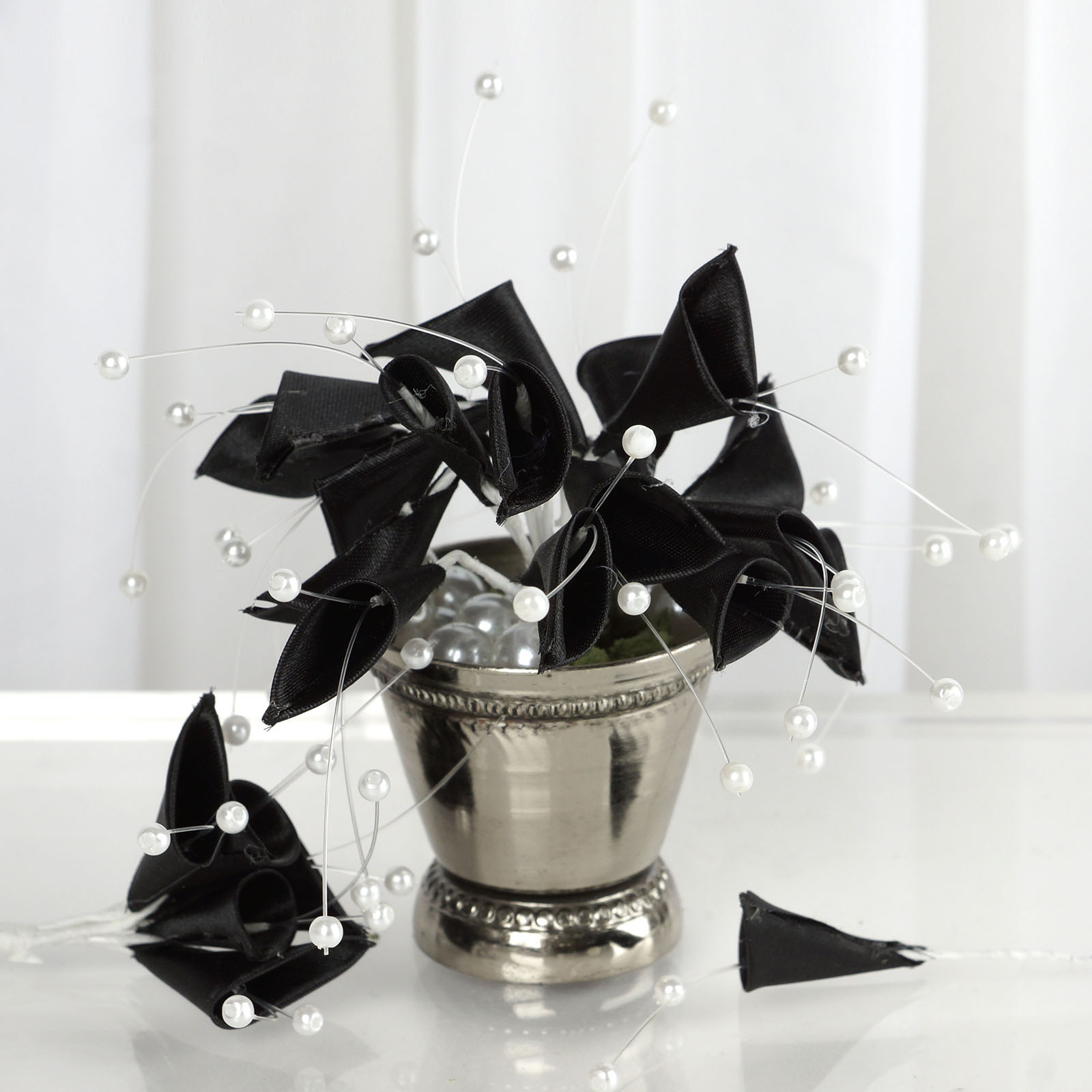 BalsaCircle 72 Pearl Beaded Craft Lilies - Mini Flowers for DIY Wedding Party Favors Decorations Supplies