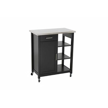 LIFE Home Oliver and Smith - Nashville Collection - Mobile Kitchen Island  Cart on Wheels - Black - Stainless Steel Top - 32\