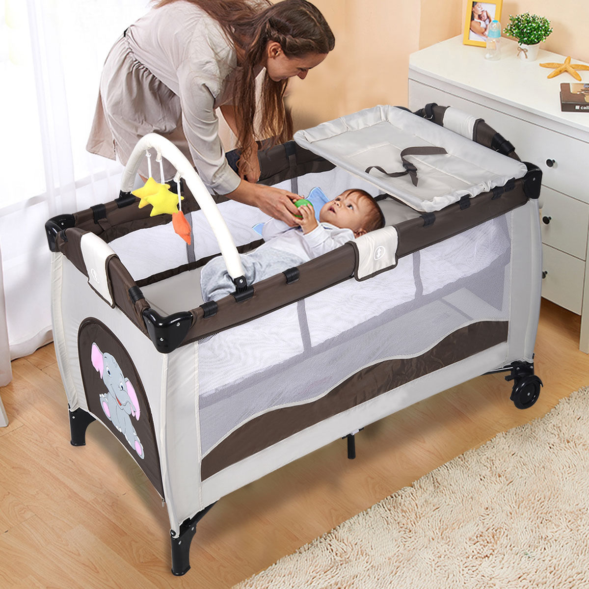 Goplus Coffee Baby Crib Playpen Playard Pack Travel Infant Bassinet Bed Foldable