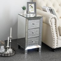 Ktaxon Contemporary Regency Glamour Style Mirrored 3-Drawers Nightstand Bedside Table Hollywood