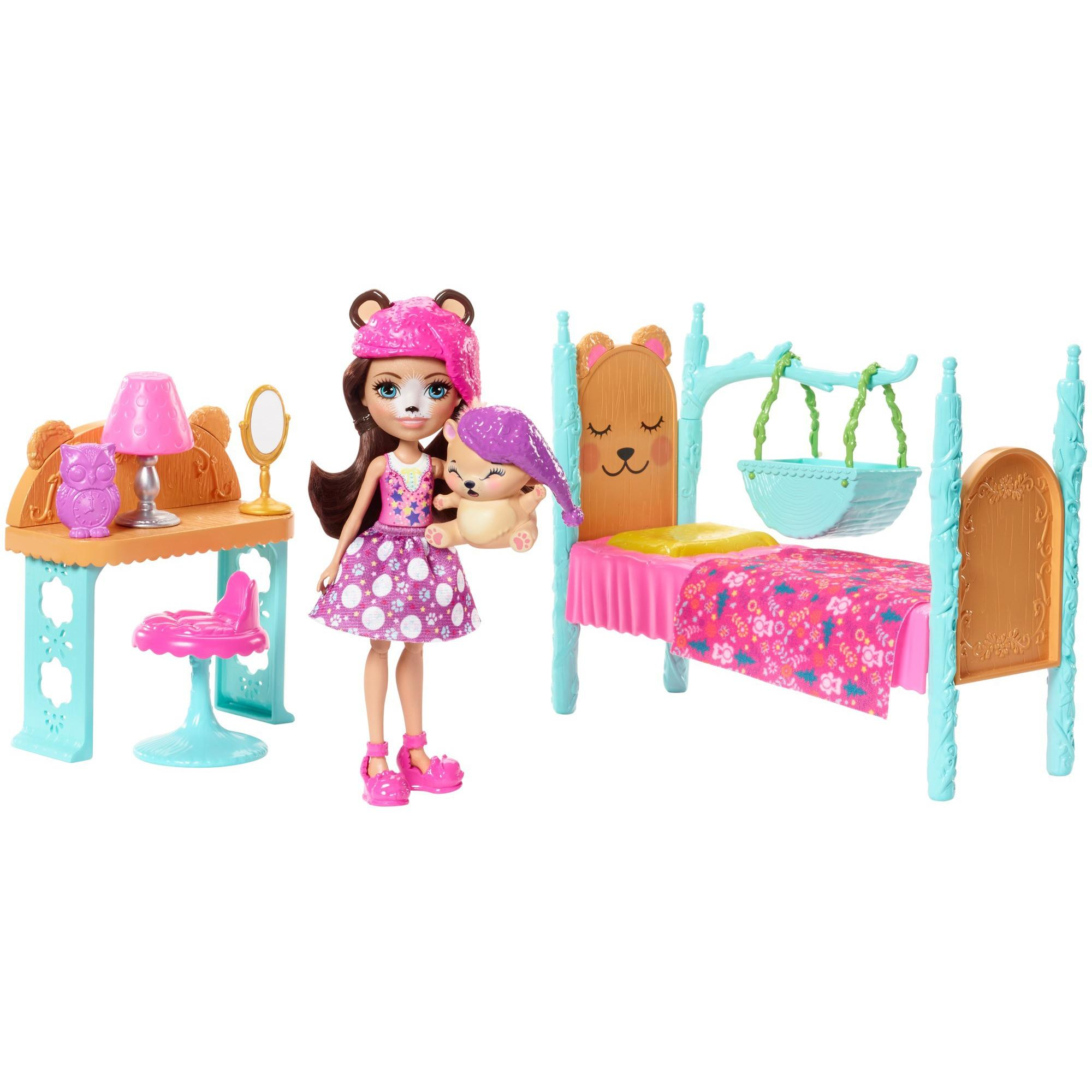 Enchantimals Dreamy Bedroom Playset + Bren Bear Doll & Snore Figure