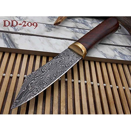 10''Long Hand Forged Twist Pattern Damascus Steel Hunting Knife, Rose Wood Round Scale with Brass Bolster, Thick Cow Hide Leather Sheath thumbnail