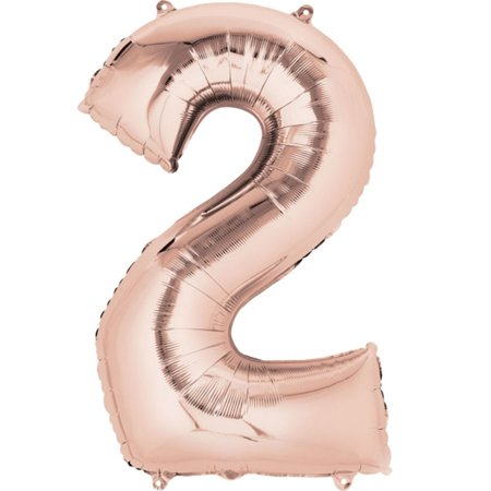 giant rose gold number 2 foil balloon 33