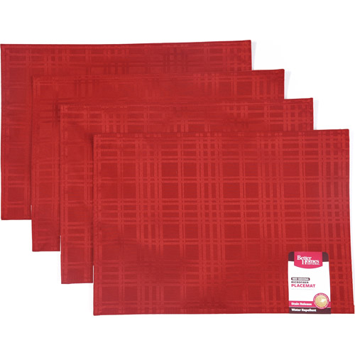 Better Homes and Gardens Red Microfiber Place Mat, Set of 4
