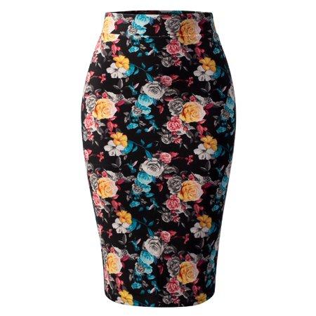 Made by Olivia Women's Stretch Office Knee Length Midi Bodycon Flower Print Pencil Skirt Flower Print J098 M - La Redoute Skirt