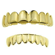 14k Gold Plated Grillz Set Eight Top Upper Teeth And 8 Bottom Eight Lower Plain Teeth Hip Hop Grills