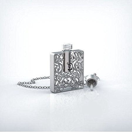 Stunning Aromatherapy Perfume Pendant by Grand Parfums with Necklace and Glass Vial, Filigree Design (Rectangle, Silver)