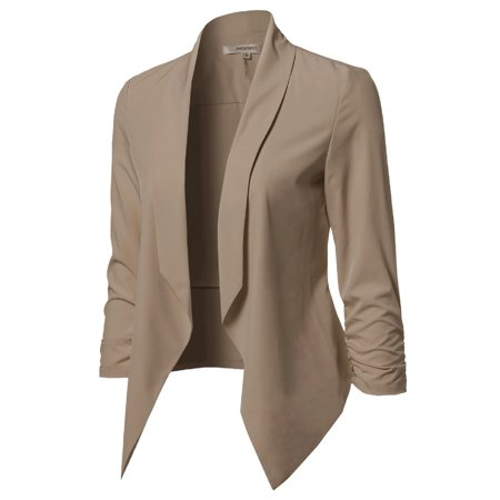 (FashionOutfit Women's Solid Lightweight Open Front Shirring Sleeve Blazer)