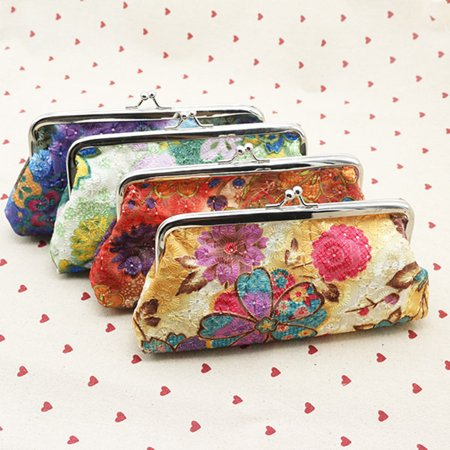Key Coin Purse (Girl12Queen Retro Women Flower Cash Change Coin Purse Wallet Clutch Handbag Card Key)