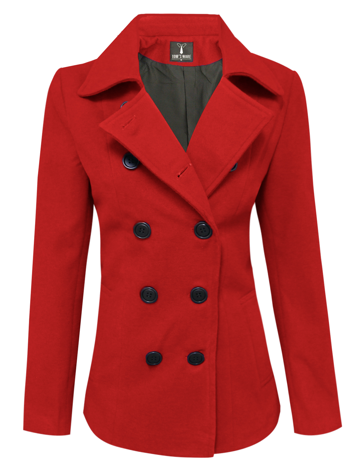 Tom's Ware Womens Trendy Double Breasted Wool Pea Coat by Tom's Ware
