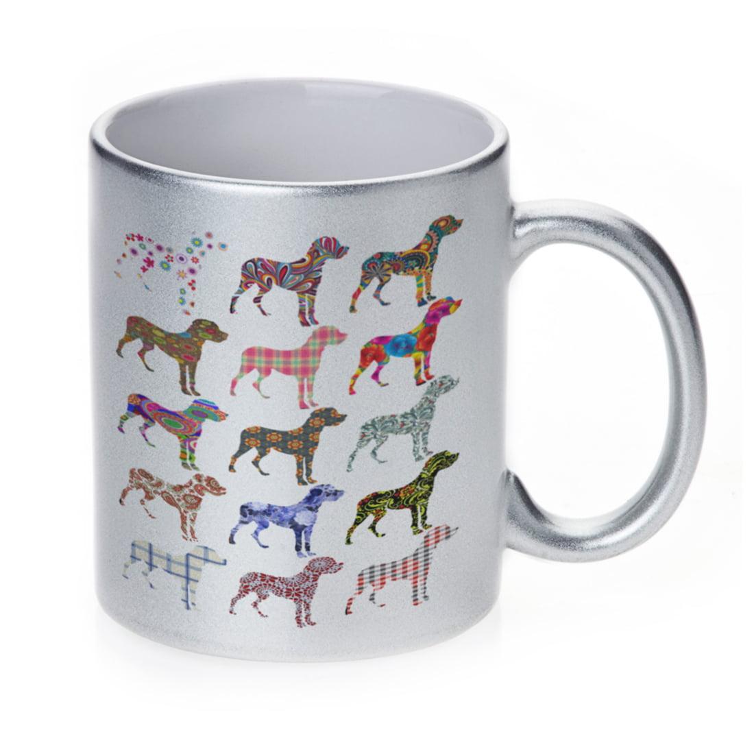 KuzmarK Silver Sparkle Coffee Cup Mug 11 Ounce - Great Dane Dog