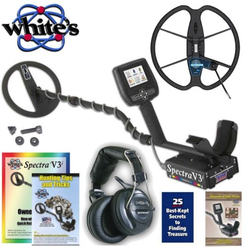 """Whites Spectra V3i Metal Detector with Headphones 10"""" DD and 13� Detech Coil by"""