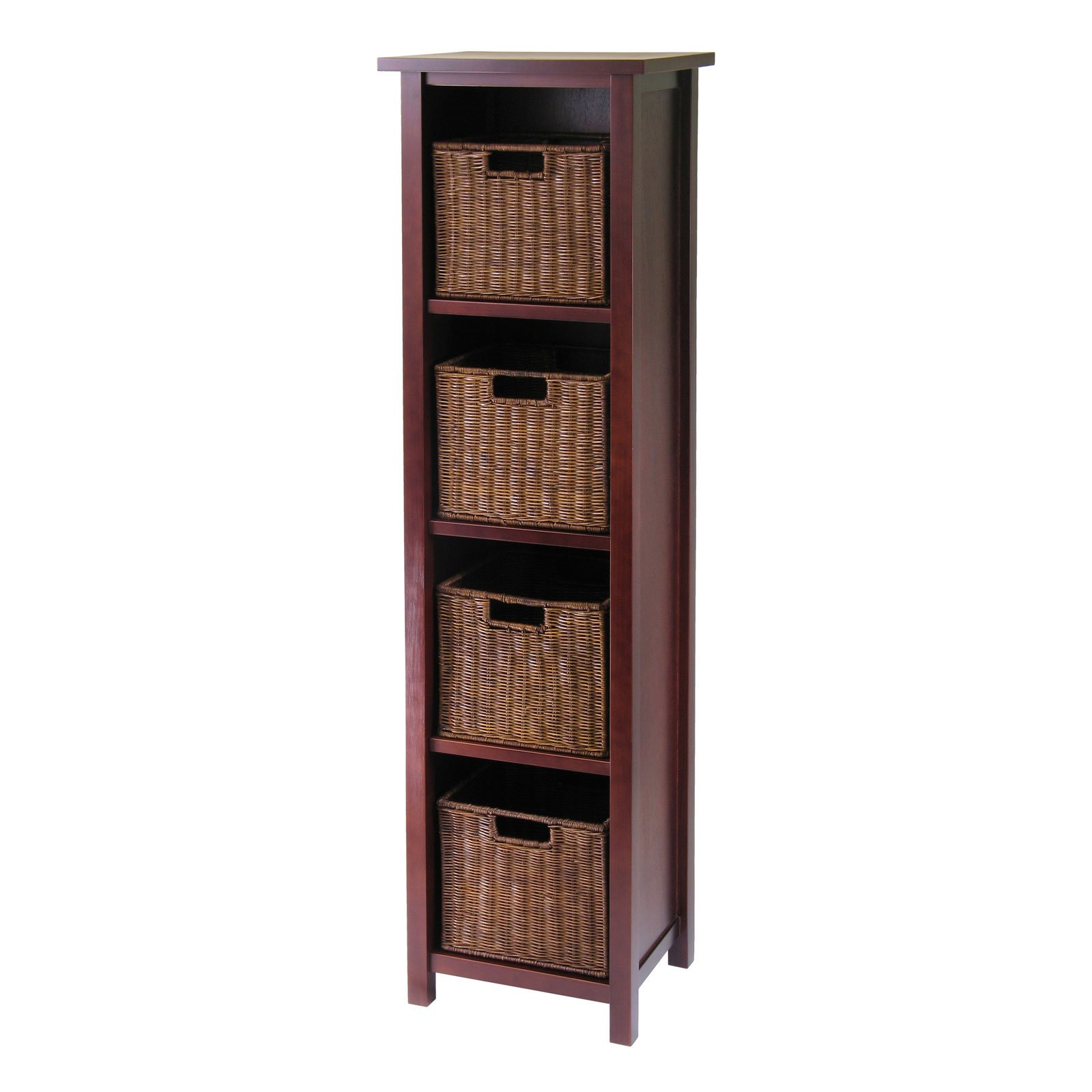 Milan 5pc Storage Shelf With Baskets; Cabinet And 4 Small Baskets; 3  Cartons   Walmart.com