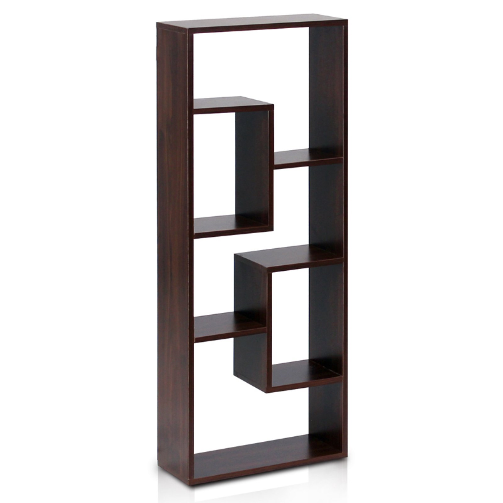 Furinno FNAJ-11033 Boyate Five Wall-Mounted Shelf, Walnut