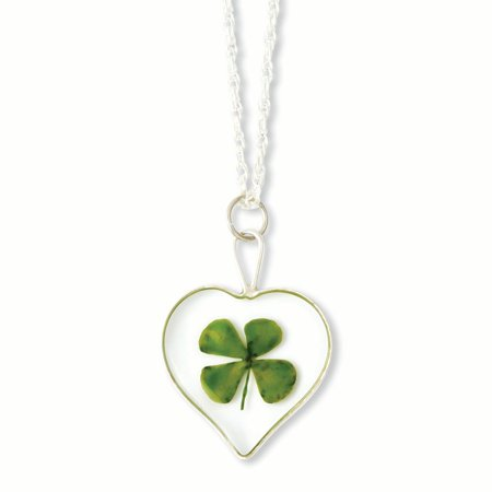 4 Leaf Clover Shamrock Necklace - 20in Silver Trim Four Leaf Clover Heart w/ Silver-plated Chain Necklace
