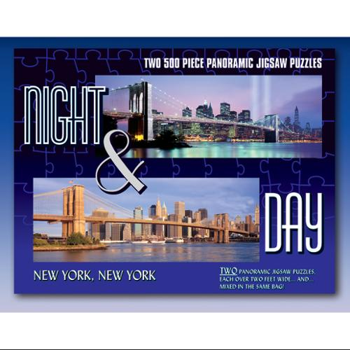 Set of 2 Night & Day New York, New York 500-Piece Panoramic Jigsaw Puzzles