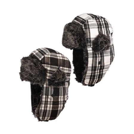 Nochilla (2 Pack) Trapper Hat Ear Flaps Faux Fur Winter Hats For Women & Men Fleece Lined Lumberjack Hat ()