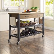 Whalen Santa Fe Rolling Kitchen Cart with Metal Shelves, Rustic Brown