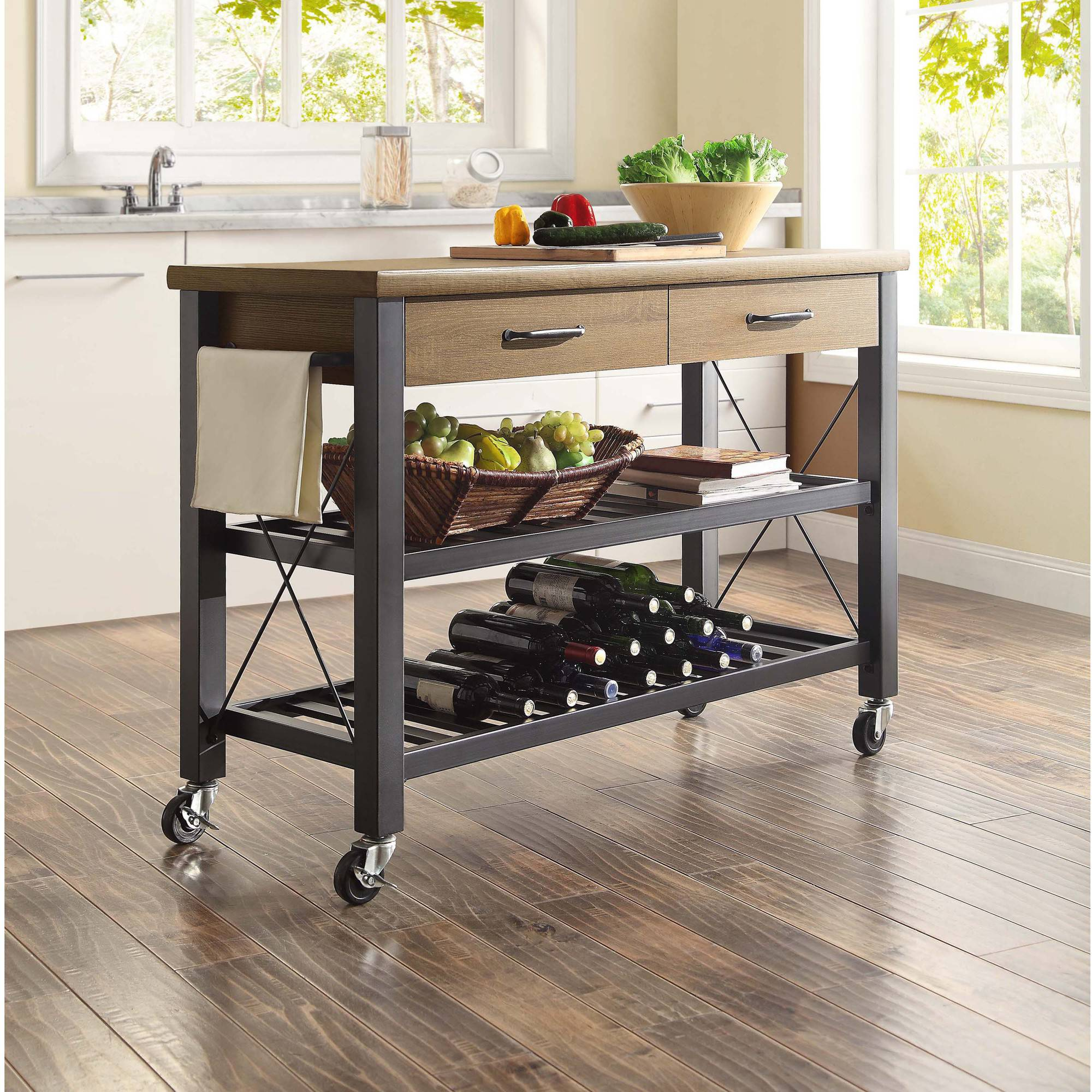 whalen santa fe rolling kitchen cart with metal shelves, rustic