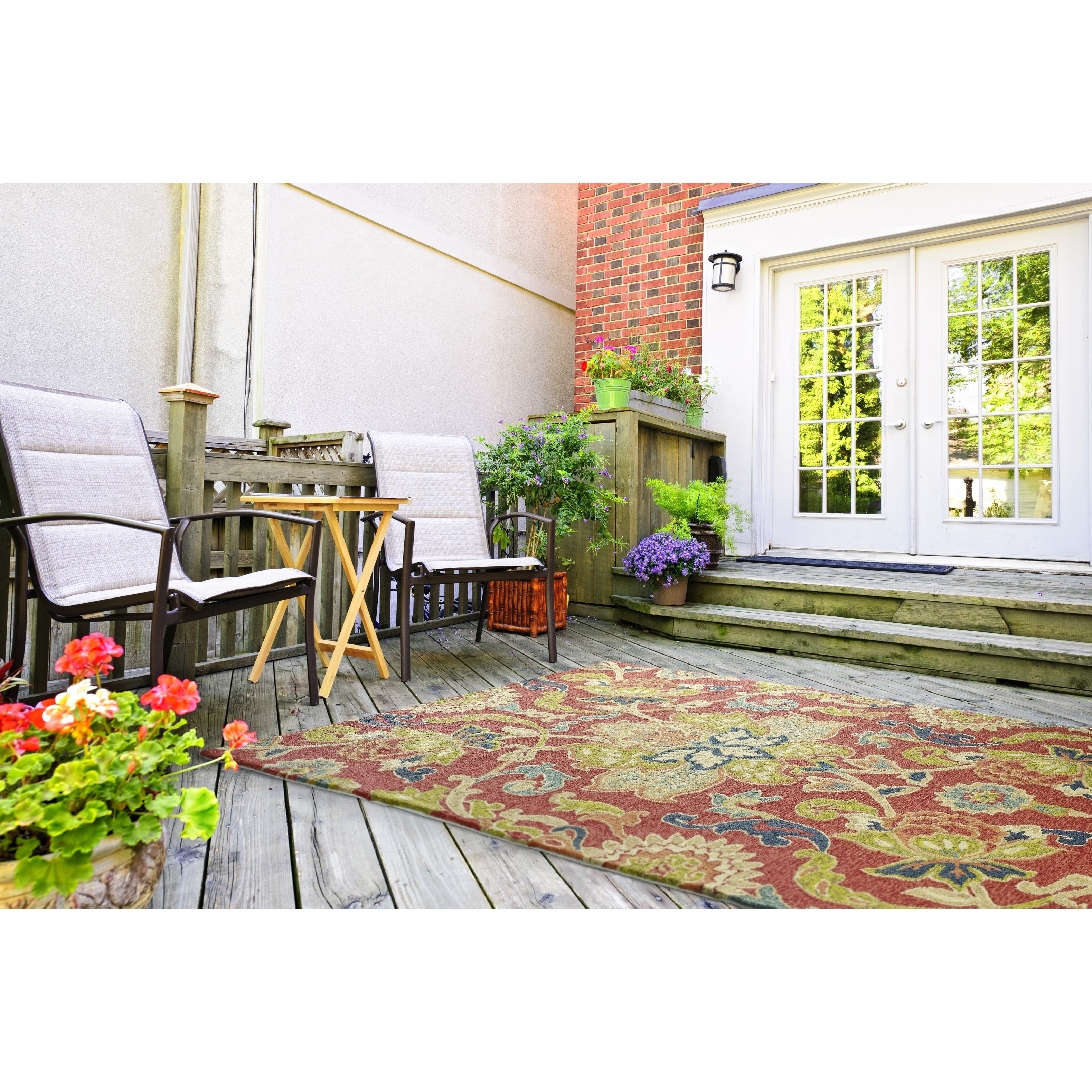 Kaleen Home and Porch Red Floral and plants Indoor/Outdoor Area Rug