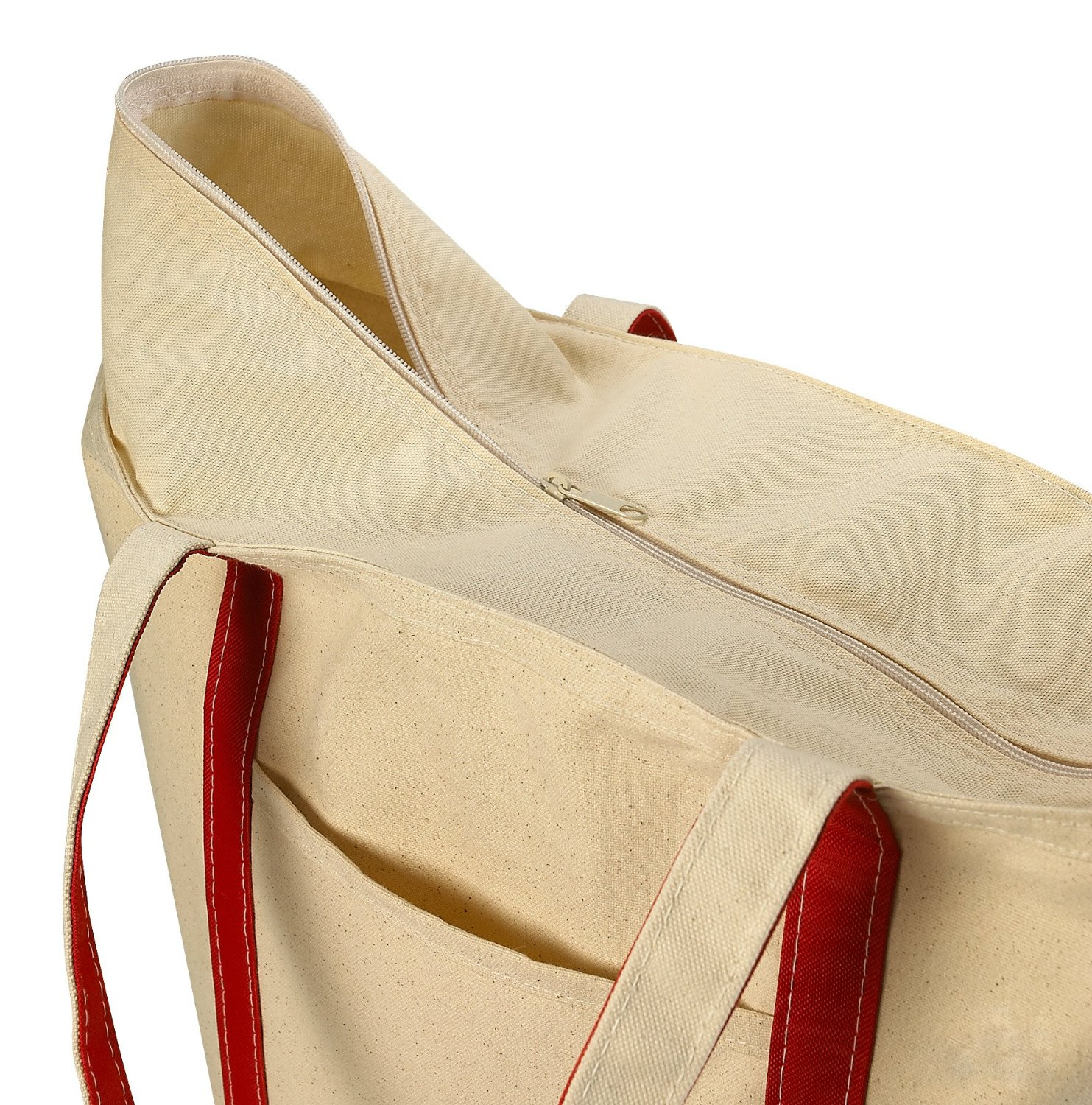 Zippered Canvas Tote Beach Bag, Red