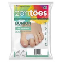 ZenToes Pack of 4 Toe Separators and Spreaders For Bunion, Overlapping Toes and Drift Pain Pads (White)