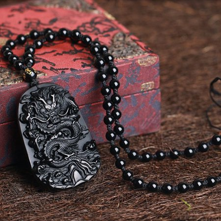 Natural Black Obsidian Hand Carved Dragon Lucky Blessing Beads Pendant Necklace Lucky Designer Necklace