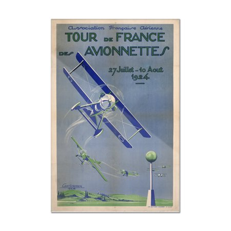 Tour de France des Avionnettes Vintage Poster (artist: Girard) France c. 1924 (8x12 Acrylic Wall Art Gallery Quality)