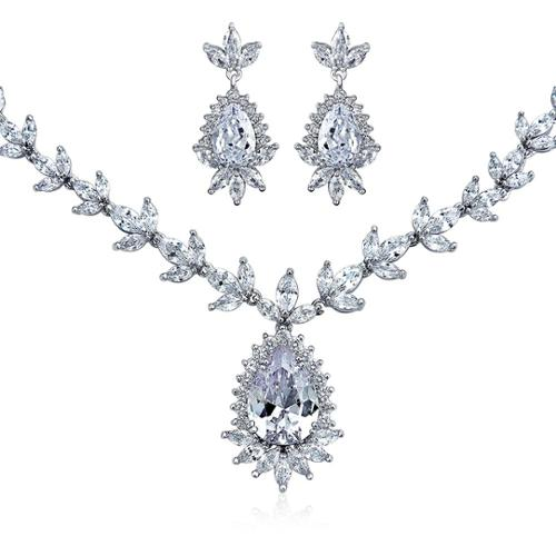 Bling Jewelry CZ Teardrop Bridal Necklace and Drop Earrings Set Rhodium Plated