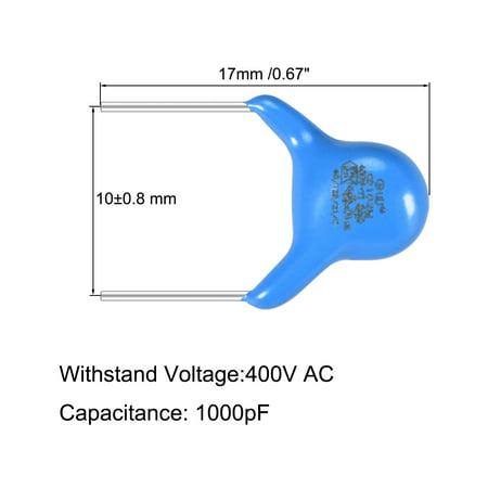 Ceramic Disc Safety Capacitors 1000pF 400V AC Y1 Series L8 100pcs - image 3 de 5