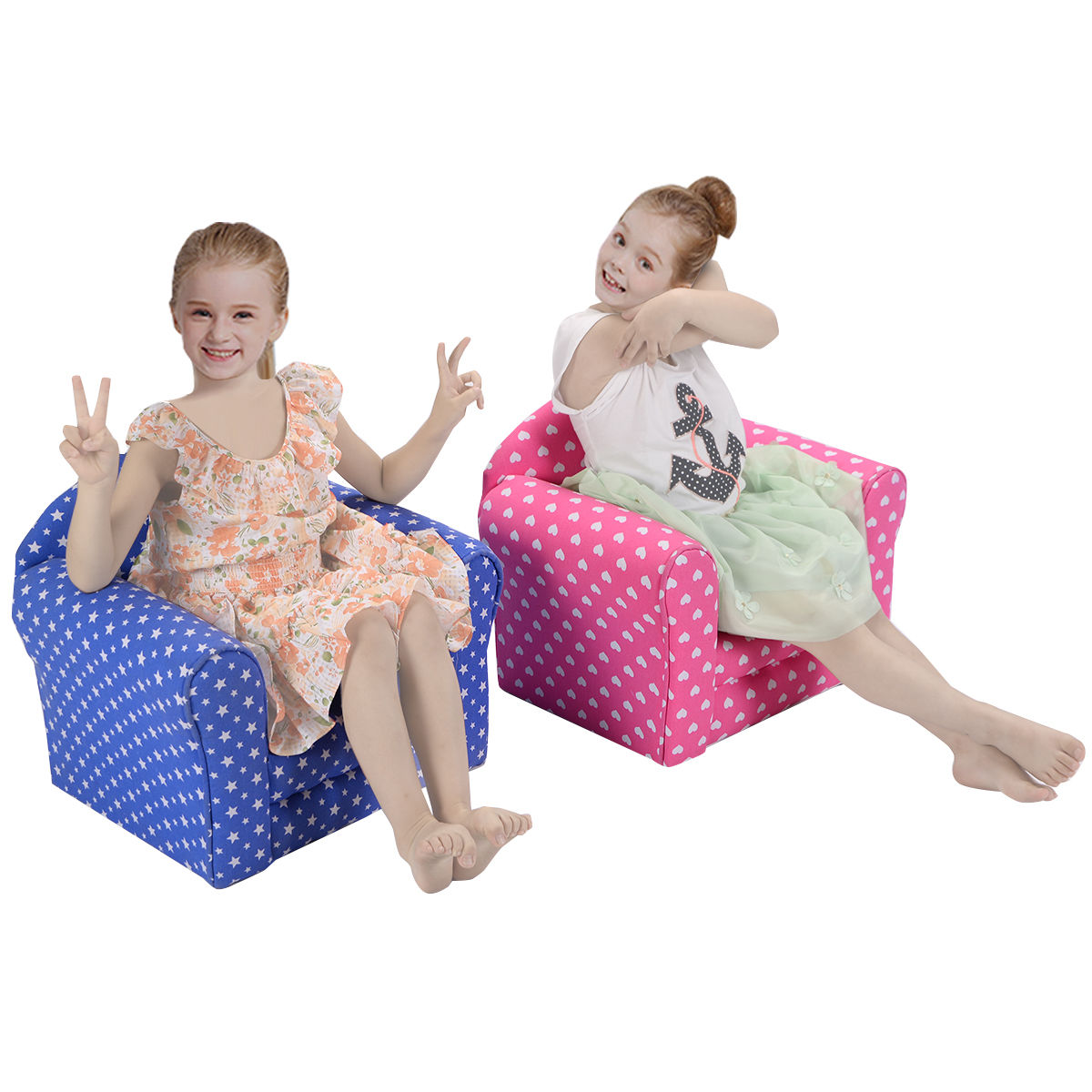 Costway Blue w Stars Kid Sofa Armrest Chair Couch Children Living Room Toddler Furniture by Costway