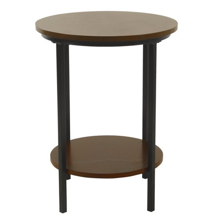HomePop Large Round Wood Accent Table with Shelf Storage, Multiple Colors ()